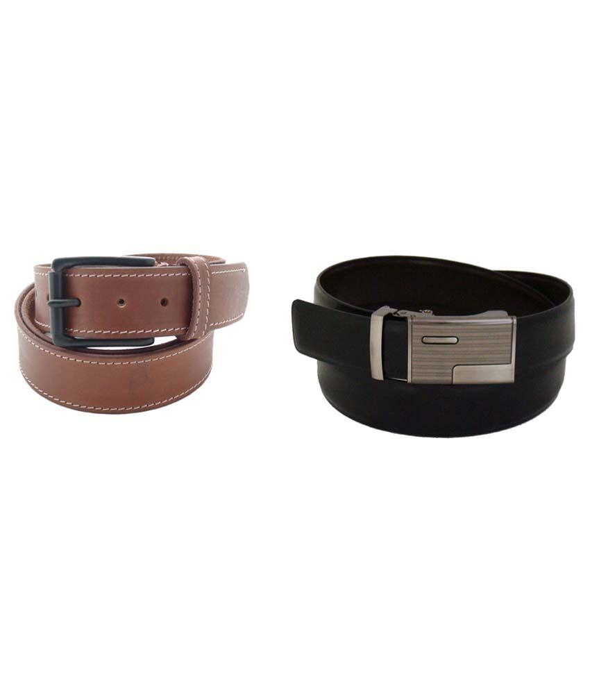 SFA Black & Brown Leather Belt Pack Of 2