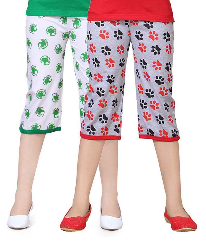 Sini Mini Multicolour Cotton Capris Pack Of 2