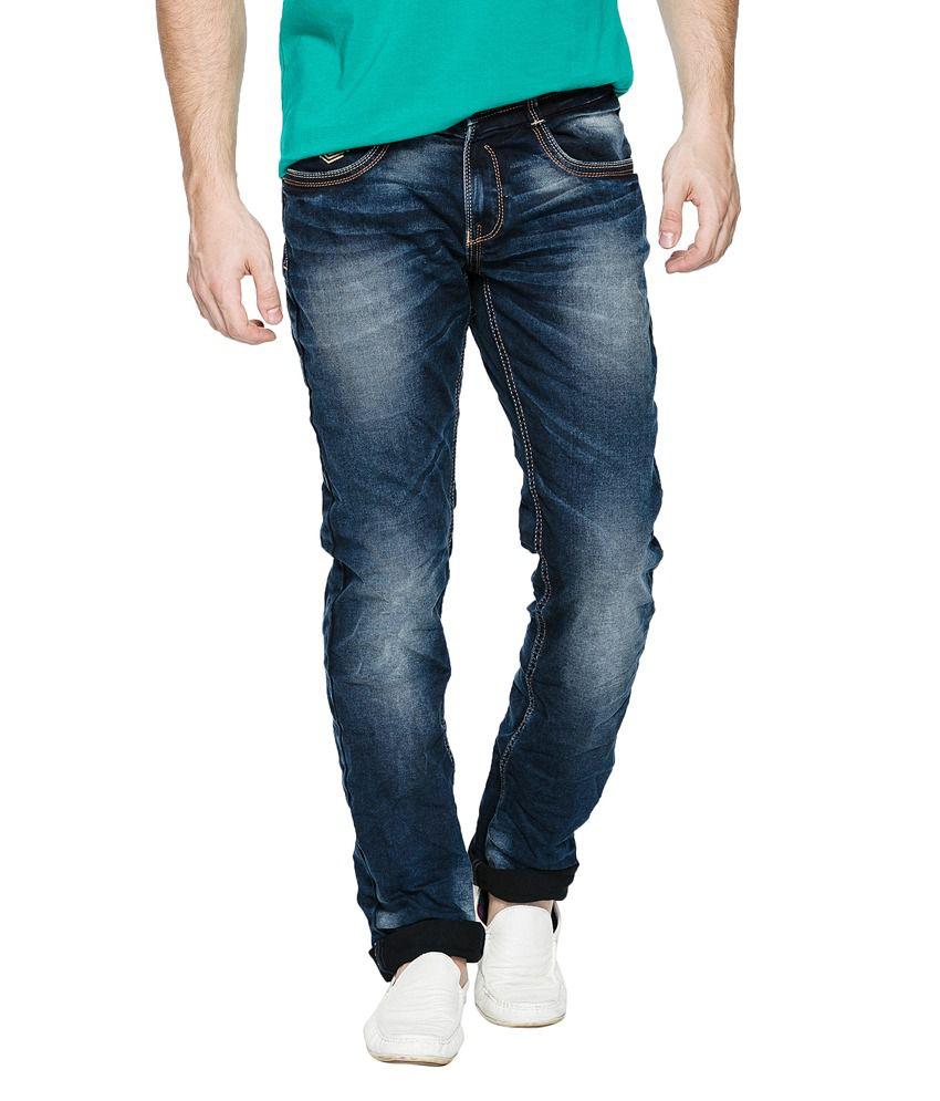 Spykar Blue Cotton Skinny Fit Jeans