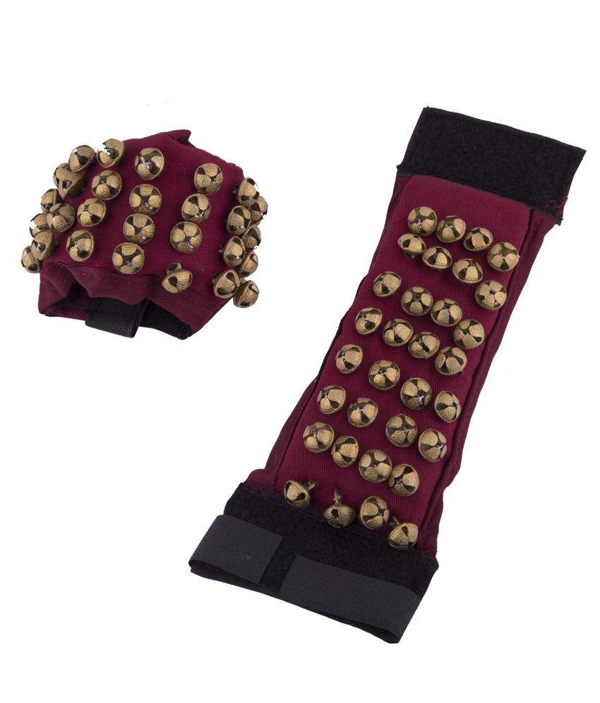Vijaya Stores Brass Anklet 4 Line Bell Velvette Base Salangai - Red