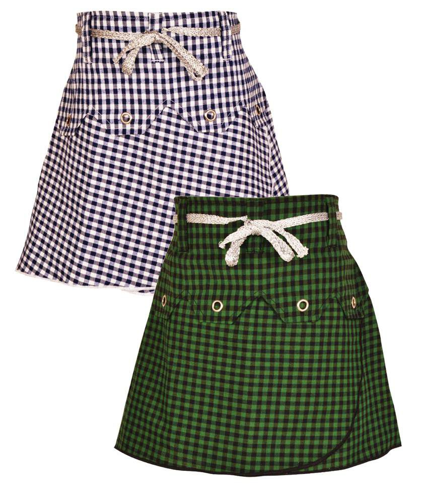 Gkidz Multicolor Cotton Skirts - Pack Of 2