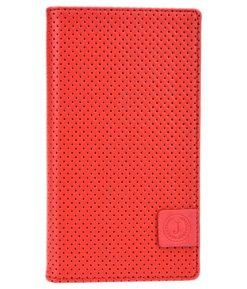 Jo Jo Flip Cover For Celkon Signature One A107 - Red and Black