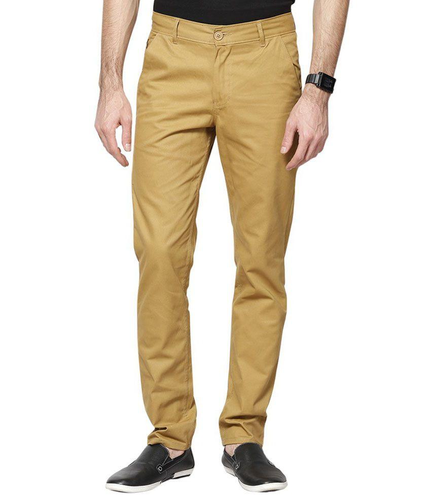 Twist Fashion Khaki Cotton Blend Regular Casual Trousers