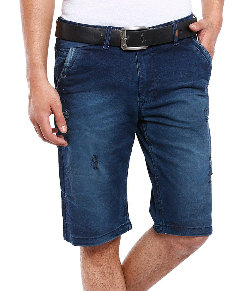 Vintage Blue Cotton Shorts