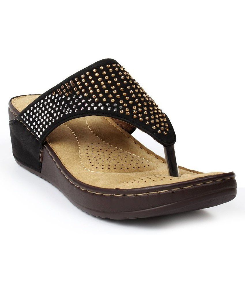 Foot Candy Black Heeled Slip-ons