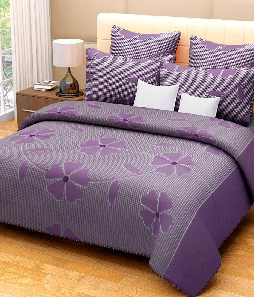 Bed sheets with price - Fresh From Loom Double Cotton Purple Floral Bed Sheet