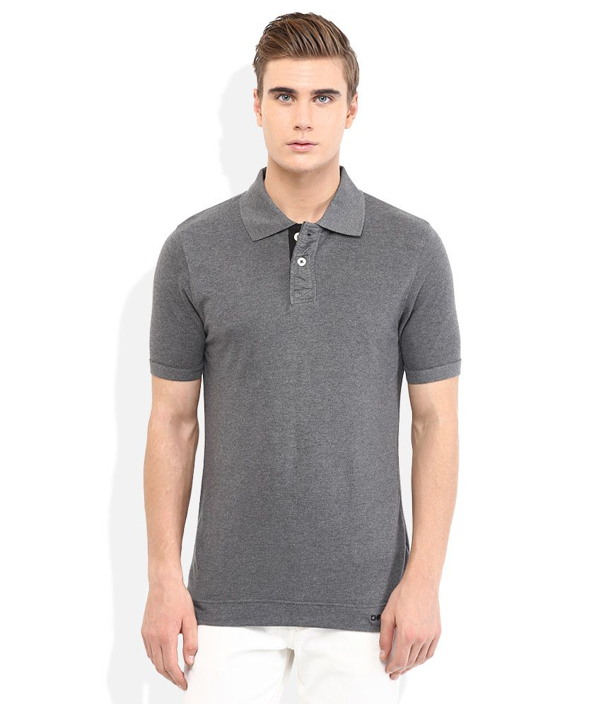 Chromozome Gray Solid Polo T Shirt