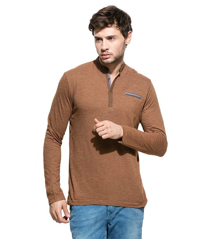 Mufti Brown Henley Neck T Shirt