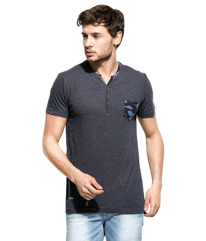 Mufti Grey Henley Neck T Shirt
