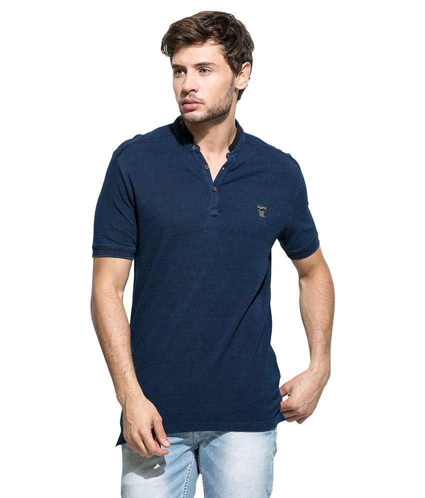 Mufti Navy Mandarin Neck T Shirt