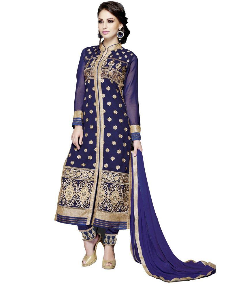 Krizel Blue Faux Georgette Unstitched Dress Material