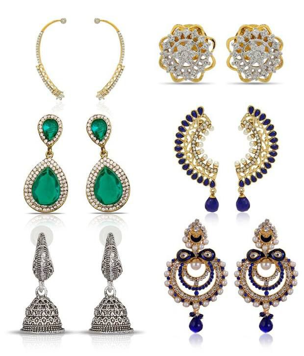 Luxor Blue Alloy Large Of Indian Earrings - Combo
