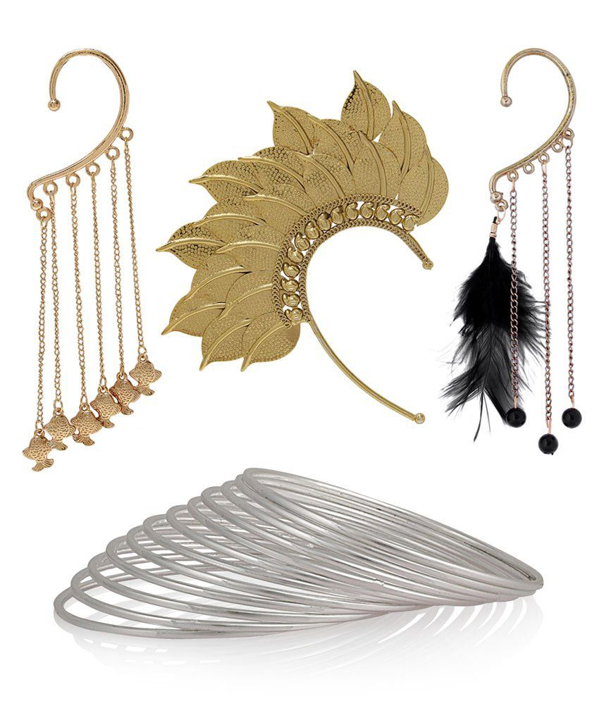 Luxor Silver Lovely Earcuff Atractive With Bangles - Combo
