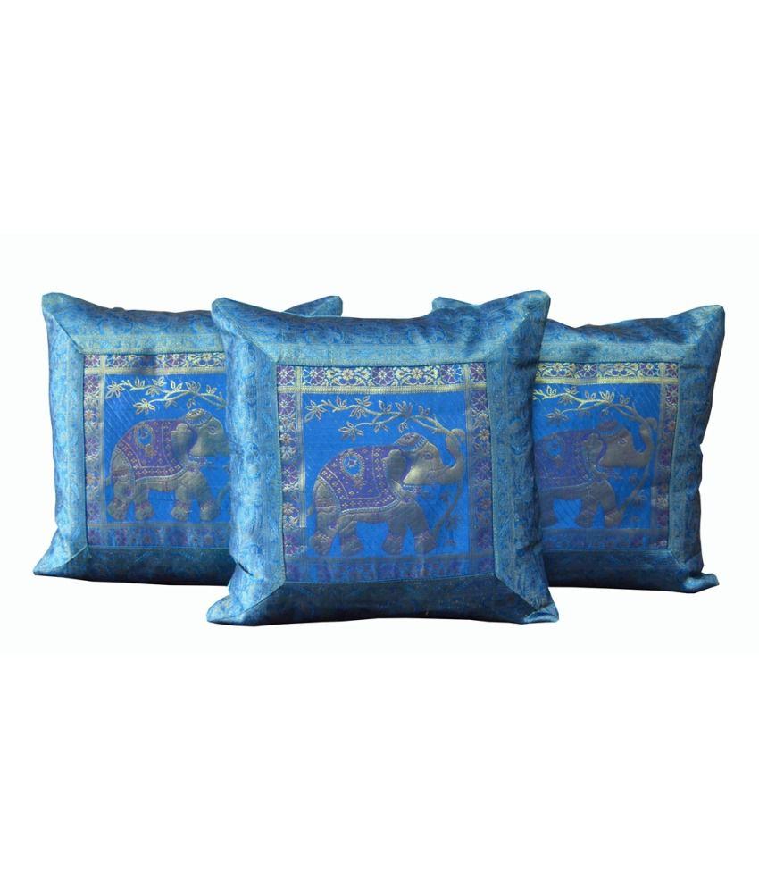 Monil Blue Ethnic Silk Cushion Cover- Set Of 3