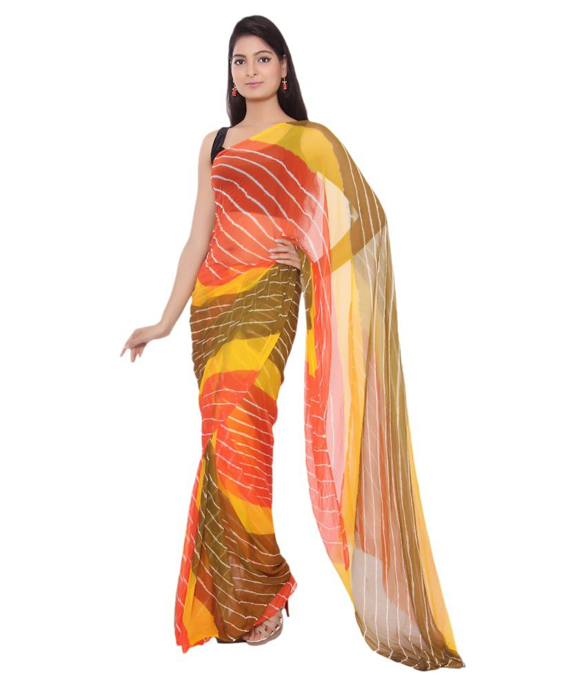 Amber Multicoloured Chiffon Saree