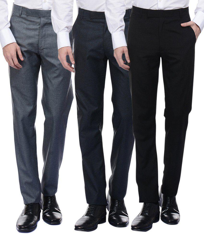 American-Elm Men's Basic Formal Trousers- Pack of 3