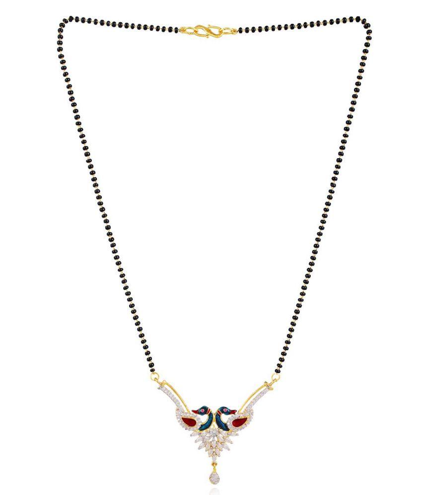 Bling N Beads Golden Alloy American Diamonds Mangalsutra Set