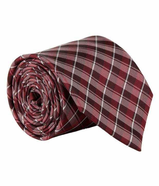 Coolife Maroon Micro Fiber Checks Formal Necktie