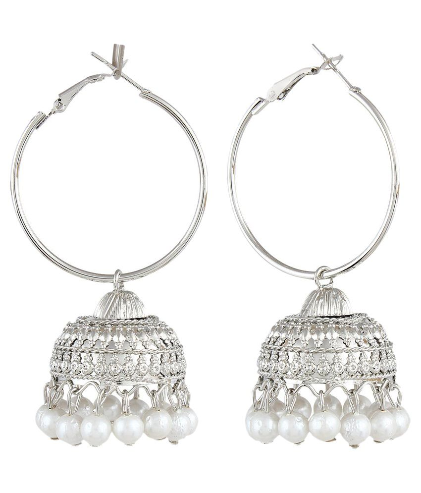 Crazytowear Silver Hoop Designer Earrings
