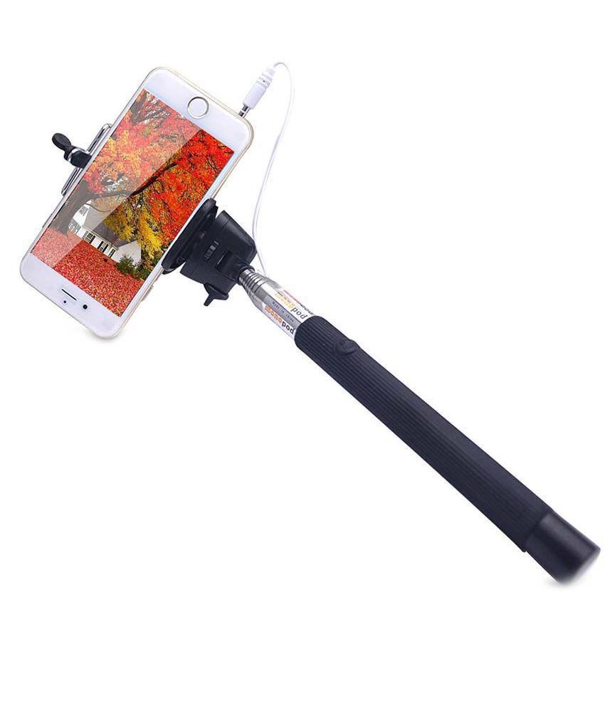 Kavya Shopping Z07-5S Selfie Stick - Black With Aux Cable