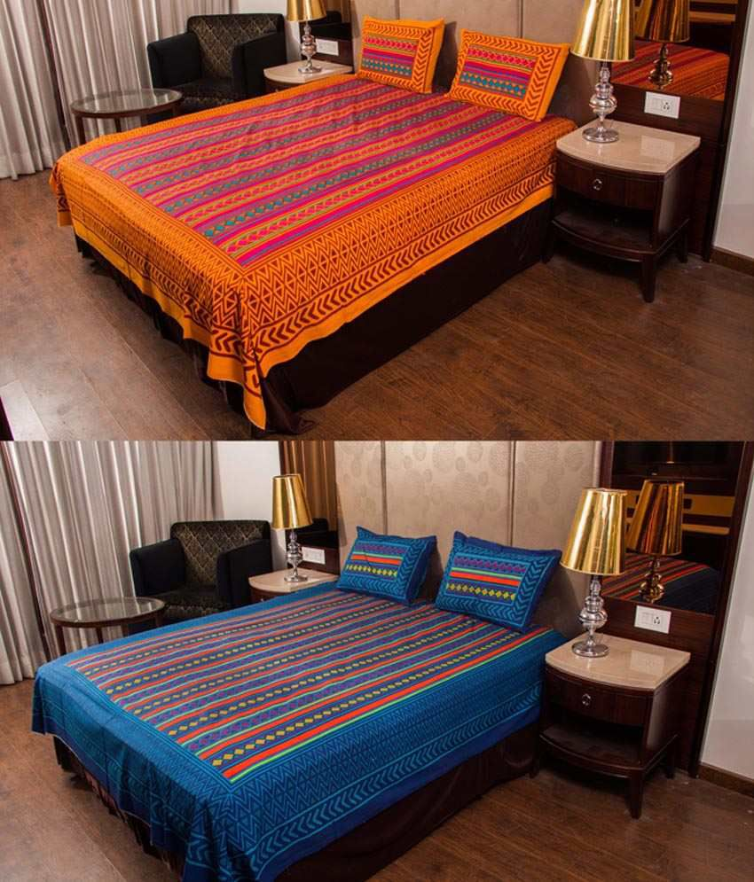 Kismat Collection 100% Jaipuri Cotton Combo of 2 Traditional Double Bedsheet With 4 Pillow Cover
