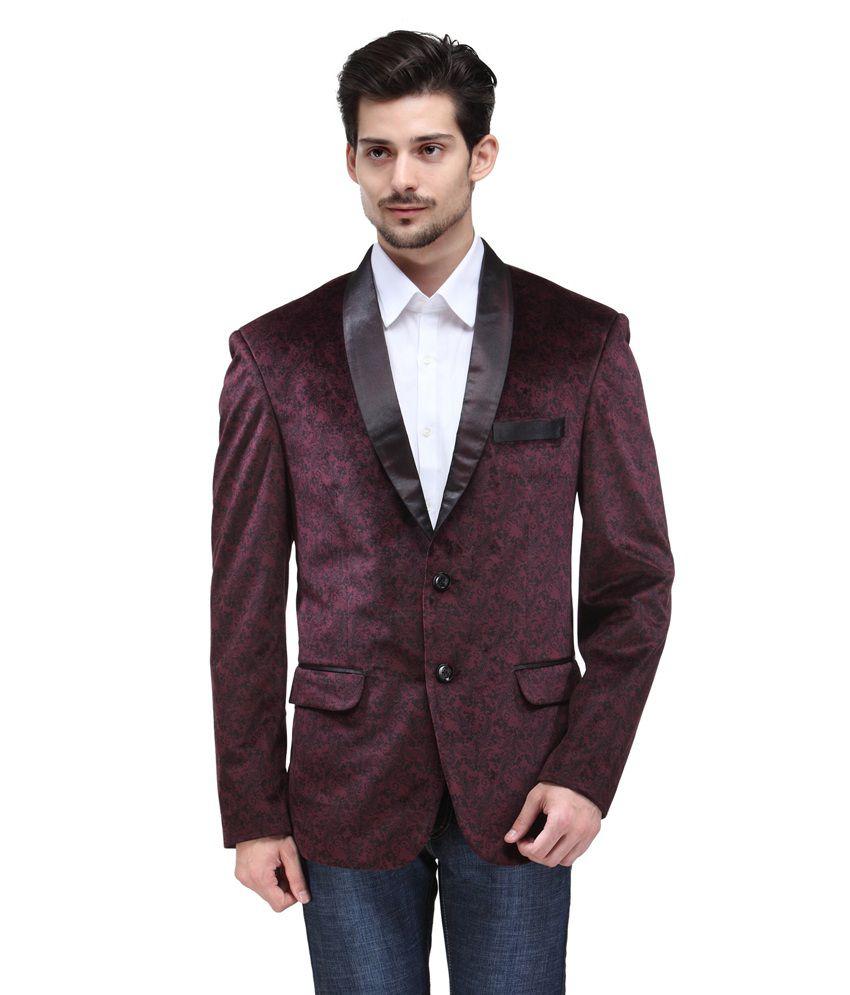 Canary London Maroon Cotton Blend Blazers