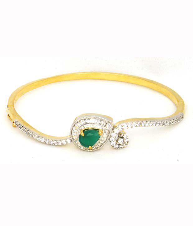 Designer American diamond bracelet with green stone Buy Designer