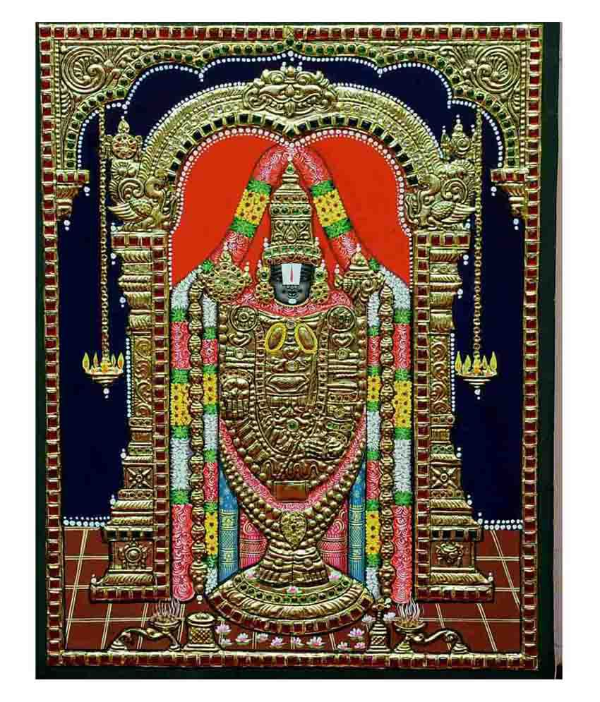 Flashing Rainbows Yellow Wooden Lord Balaji Religious Painting