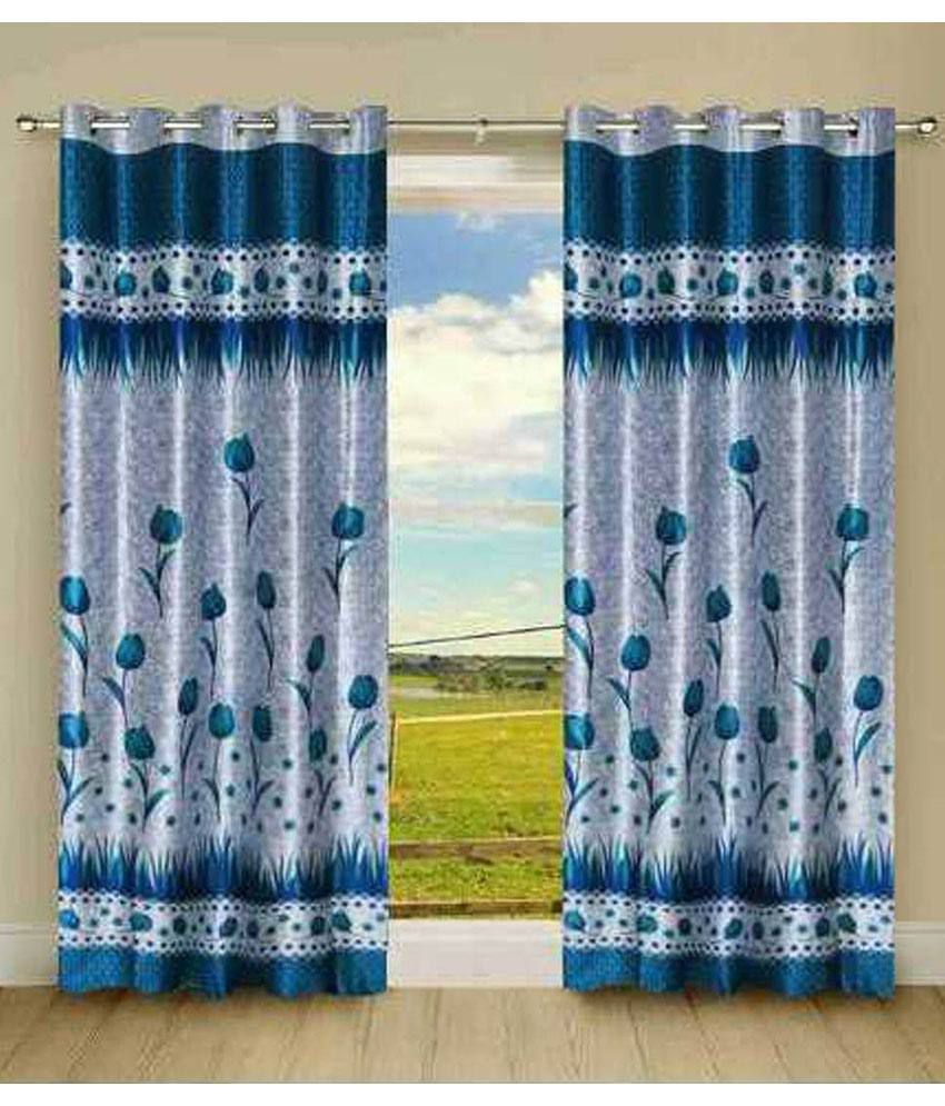 Fresh From Loom Set of 2 Door Eyelet Curtains Contemporary Blue