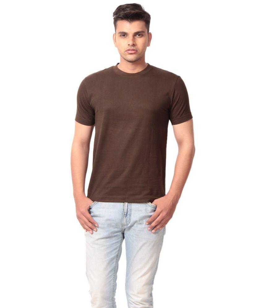 Aryaa International Brown Cotton Blend T Shirt