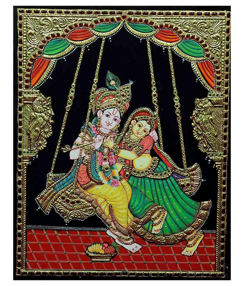 Flashing Rainbows Gold Foiled Mature Swinging Radha Krishnaa Religious Painting