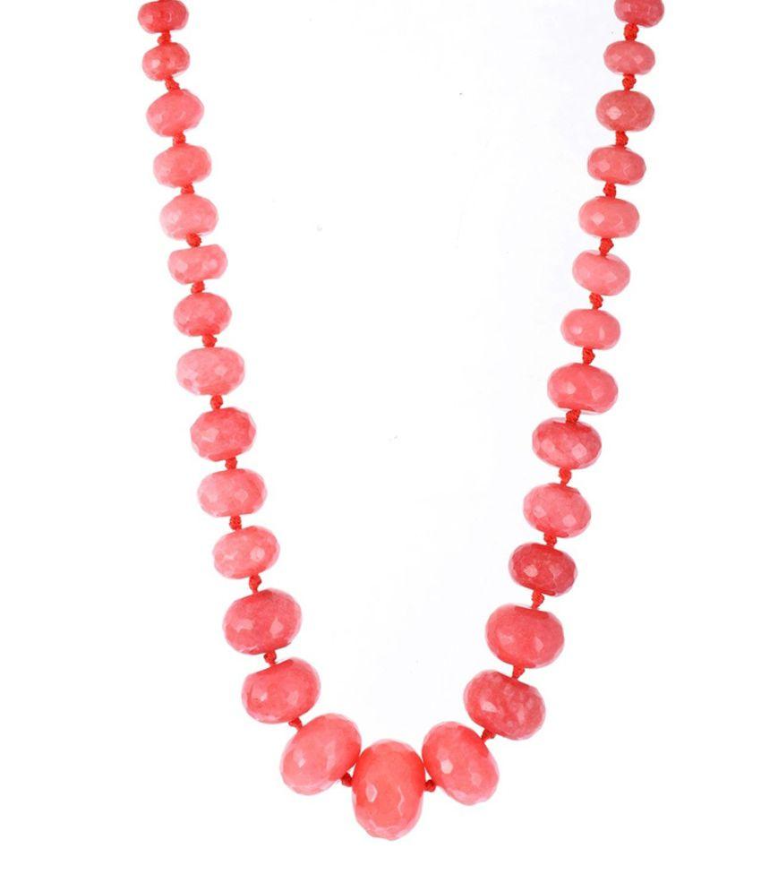 Kastiya Jewels Coral Red Quartz Gemstone Necklace For Women