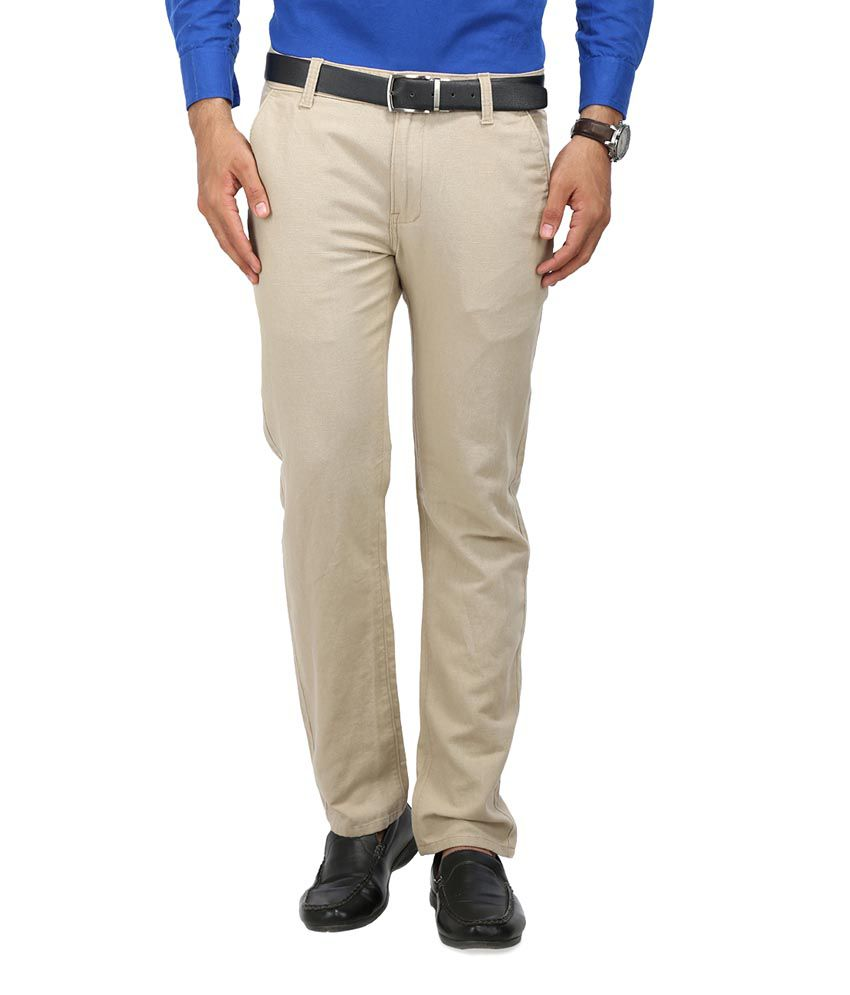 Wear Your Mind Beige Slim Fit Casual Chinos