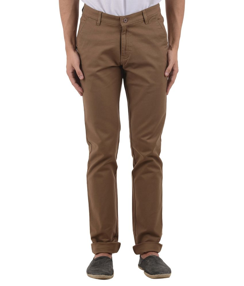 COBB Brown Slim Fit Casual Trouser