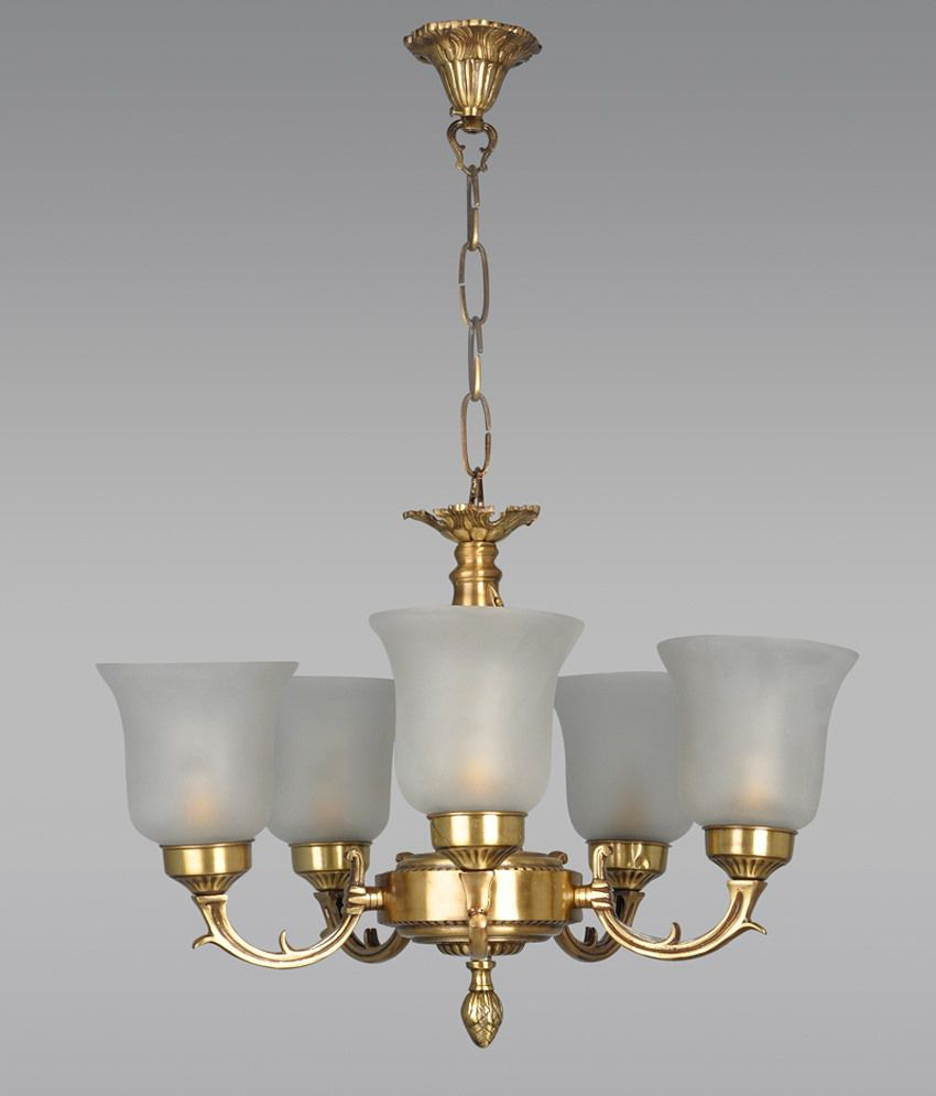Crystal Chandelier Online India: Fos Lighting Small Traditional Brass Chandelier: Buy Fos