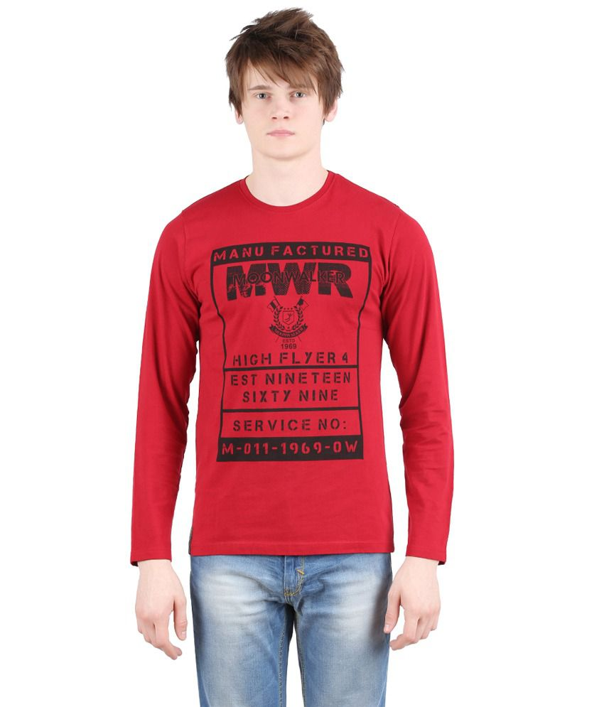 Moonwalker Red Round Neck T-Shirt