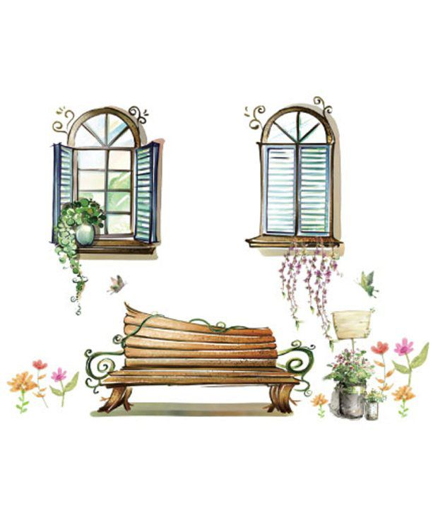 UberLyfe Pretty Garden Bench And Arty Windows Wall Sticker For - Window stickers for home india