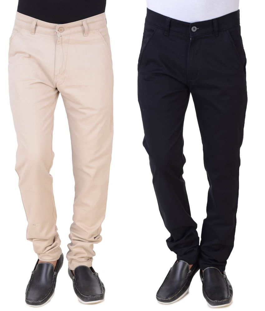 Threads Black And Beige Regular Fit Trousers - Pack Of 2
