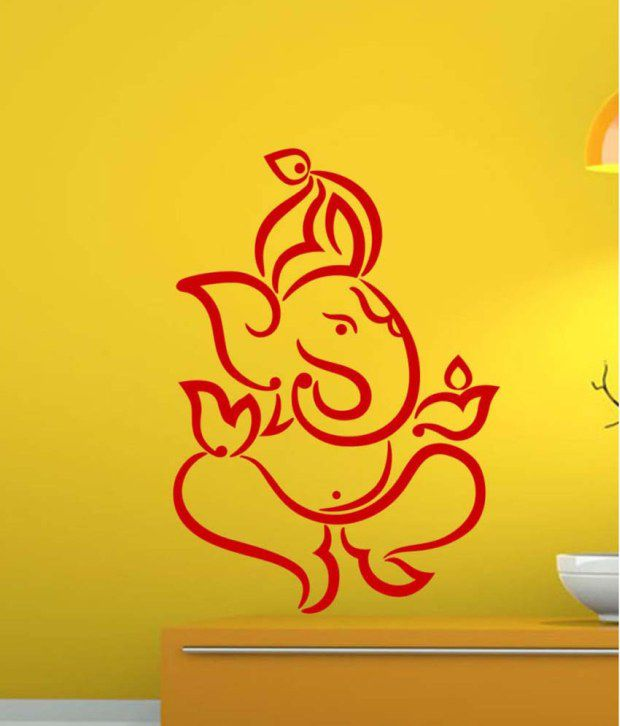 trends on wall red pvc lord ganesha wall sticker - buy trends on