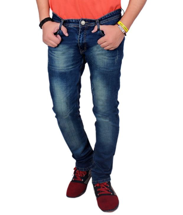 Jctex Blue Cotton Slim Fit Faded Jeans For Men