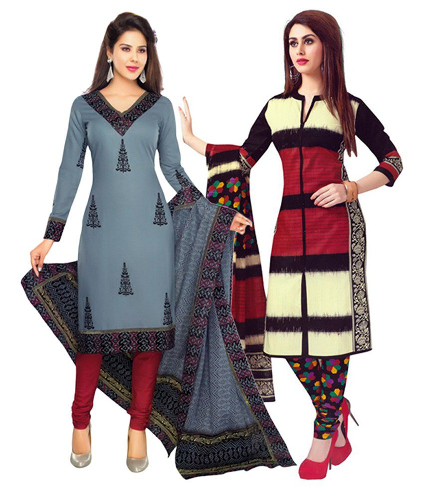 Giftsnfriends Gray & Multi-coloured Printed Unstitched Cotton Dress Material (Pack of 2)