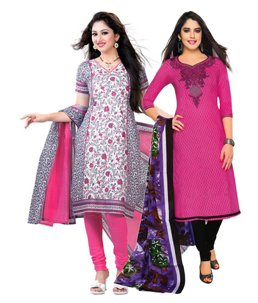 Giftsnfriends Pink Printed Unstitched Cotton Dress Material (Pack of 2)