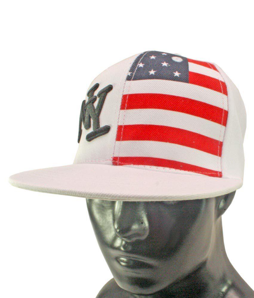 Jm White Cotton Baseball Cap For Men
