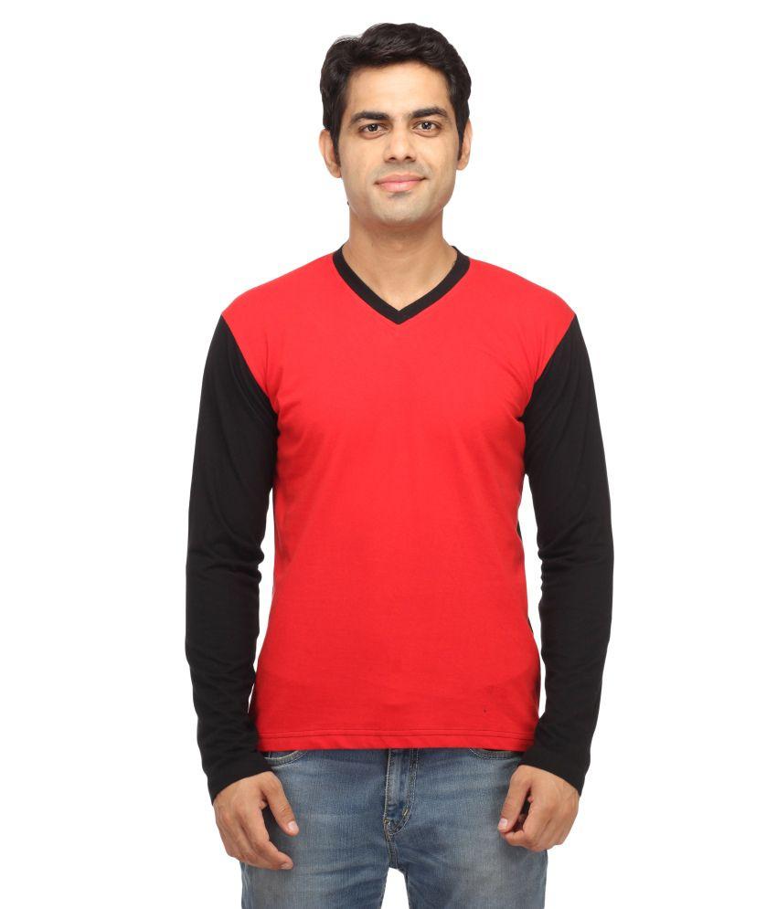 Leana Red & Black V-Neck Henley T-Shirt