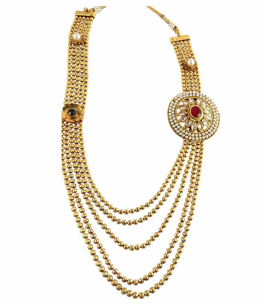 cb47c39121f906 ... Ratnaraj Jewellery Modern & Fancy Style Designer Gold Plated with Pearl Necklace  Set
