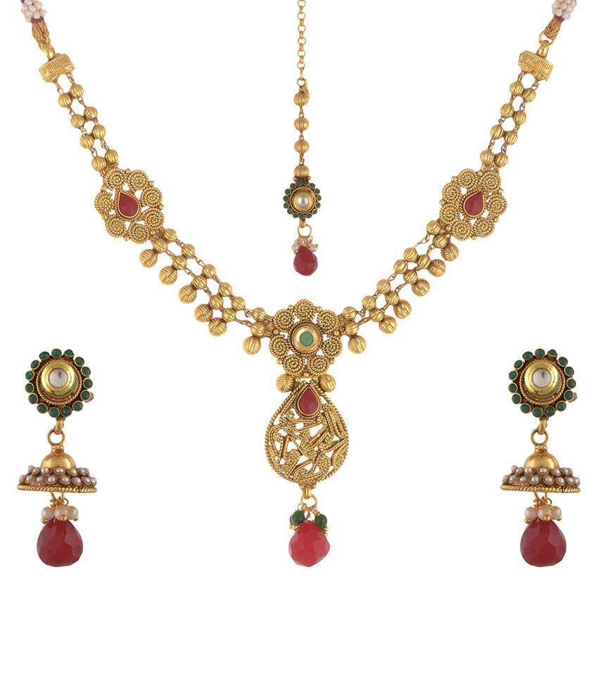 Royal Lady Alloy 22 Kt Golden American Diamonds Necklace Set