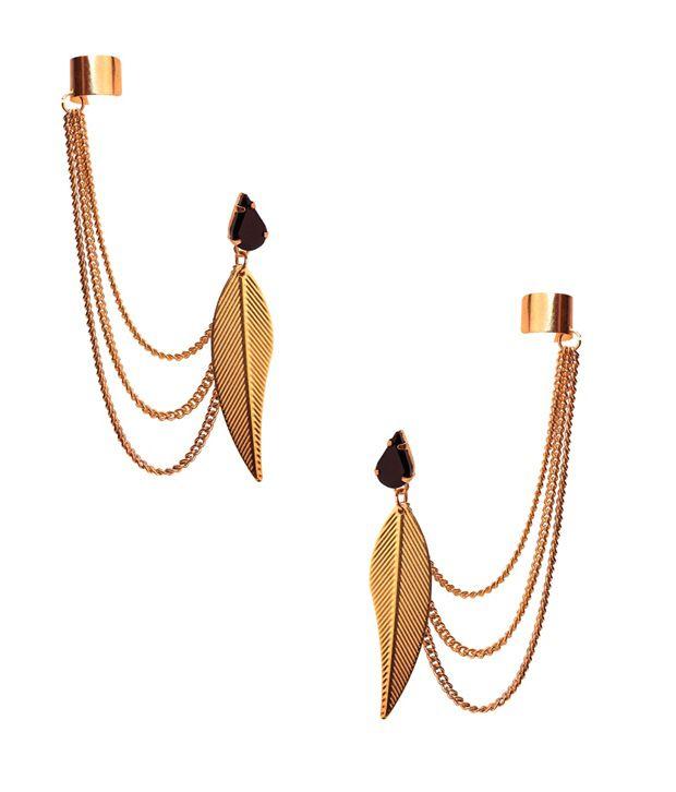 Sankisho Golden Alloy Drop Earrings