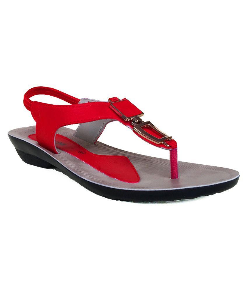Walkline Red Heeled Sandals