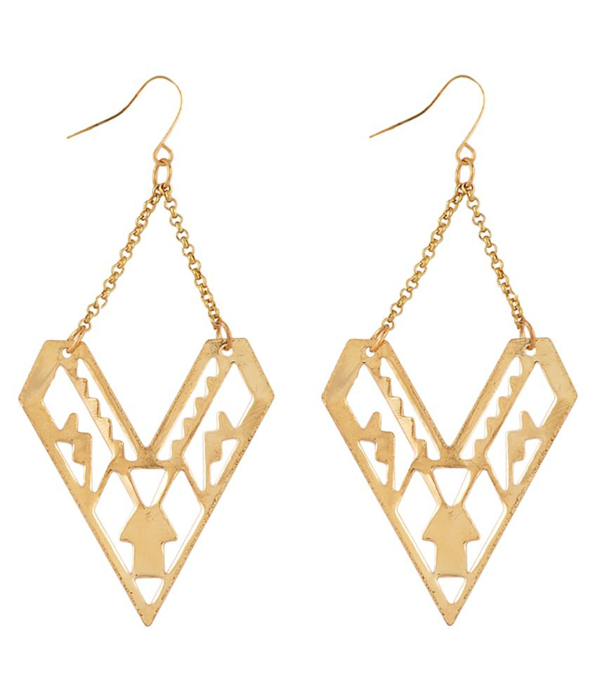 Youshine Entangled In Triangle Gold Dangler Earrings