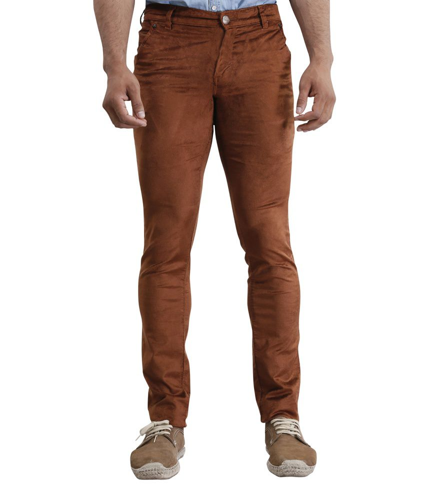 Zonic Brown Slim Fit Casual Flat Trouser